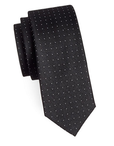 Sondergaard Mini Dotted Silk Tie-BLACK-One Size