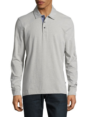 Nautica Long-Sleeve Jersey Polo-GREY HEATHER-Large