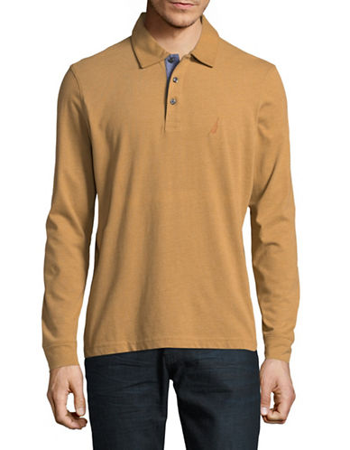 Nautica Long-Sleeve Jersey Polo-BROWN-Medium 89372448_BROWN_Medium