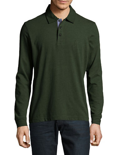 Nautica Long-Sleeve Jersey Polo-GREEN-Large