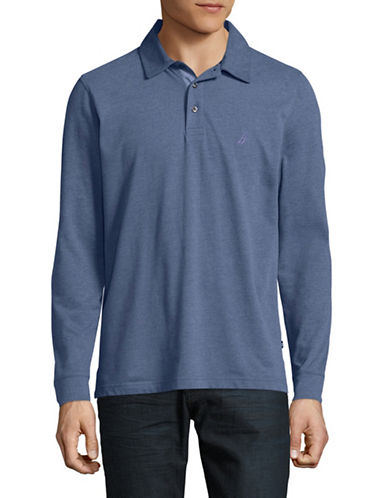 Nautica Long Sleeve Cotton-Blend Polo-BLUE-X-Large