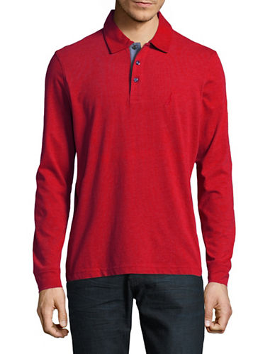Nautica Long-Sleeve Jersey Polo-RED-Large