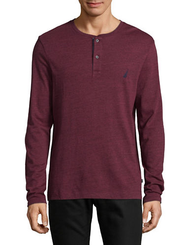 Nautica Pigment-Dyed Jersey Henley-BURGUNDY-Large