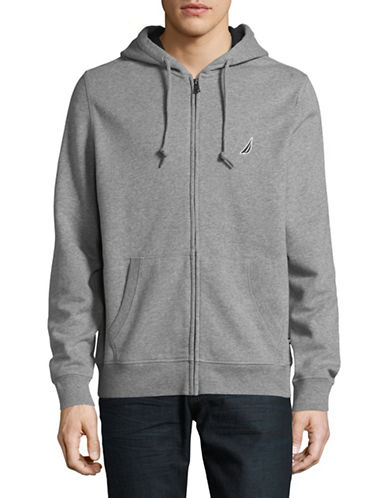 Nautica Fleece Zip-Up Hoodie-STANDARD GREY HEATHER-Medium
