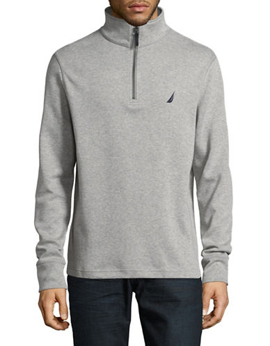 Nautica Half Zip Stand Collar Sweater-GREY-Large