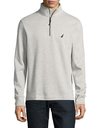 Nautica Half Zip Stand Collar Sweater-BEIGE-Large