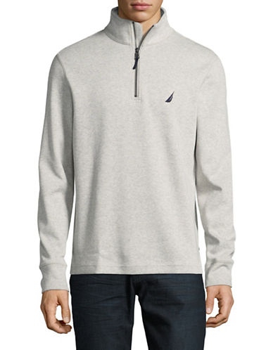 Nautica Half Zip Stand Collar Sweater-BEIGE-Medium