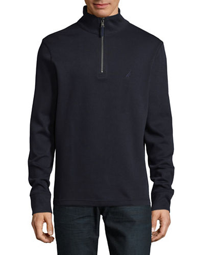Nautica Half Zip Stand Collar Sweater-TRUE NAVY-X-Large