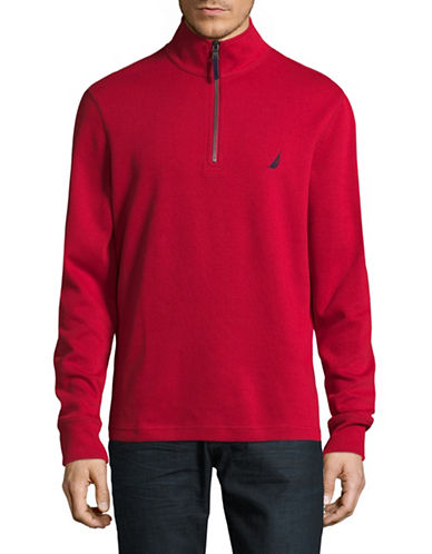 Nautica Half Zip Stand Collar Sweater-RED-X-Large