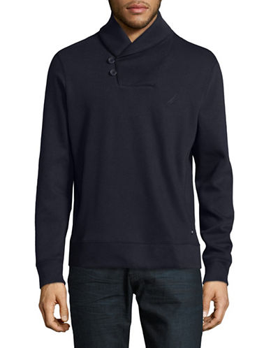 Nautica Shawl Collar Cotton Sweater-TRUE NAVY-X-Large