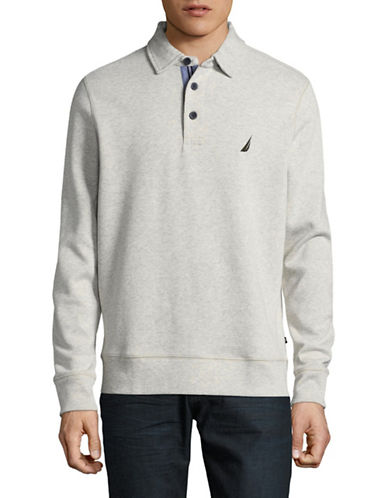 Nautica Long-Sleeve Cotton Polo-BEIGE-Medium