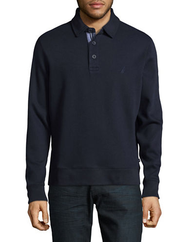 Nautica Long-Sleeve Cotton Polo-NAVY-X-Large