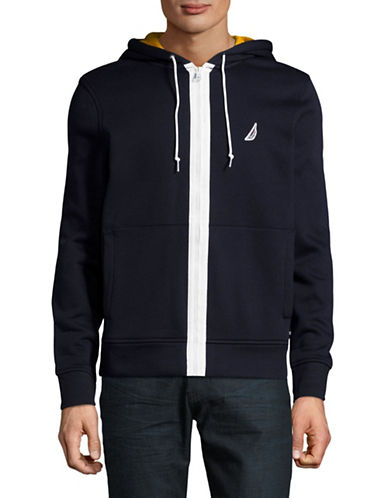 Nautica Tech Fleece Hoodie Jacket-NAVY-X-Large