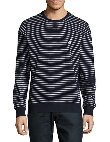 Nautica Tech Fleece Crew Neck Sweater-NAVY-X-Large