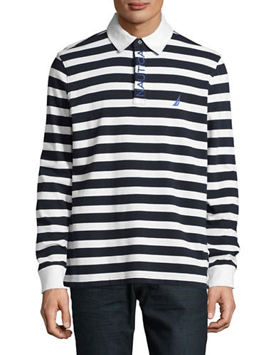 Nautica Long Sleeve Rugby Polo-BRIGHT WHITE-X-Large