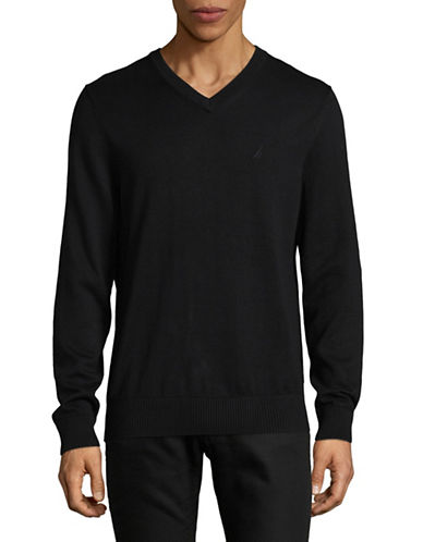Nautica Cotton Blend V-Neck Sweater-TRUE BLACK-Large