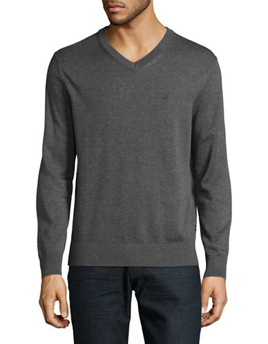Nautica V-Neck Sweater-GREY-Small