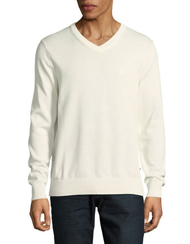 Nautica Classic V-Neck Sweater-WHITE-X-Large