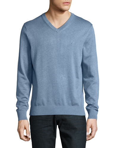 Nautica V-Neck Sweater-BLUE-X-Large