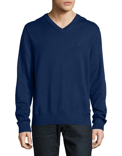 Nautica V-Neck Sweater-BLUE-Small