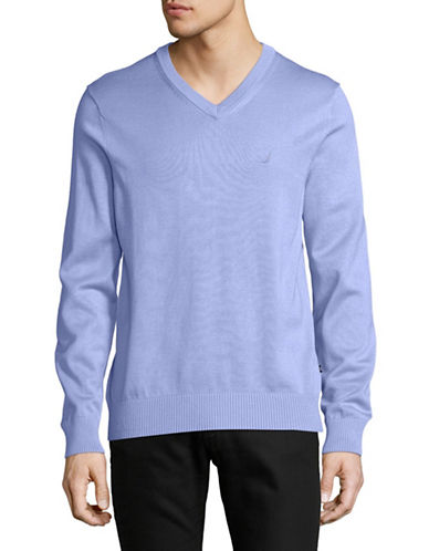 Nautica Classic V-Neck Sweater-BLUE-Large