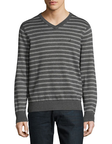 Nautica Striped V-Neck Sweater-GREY-Small