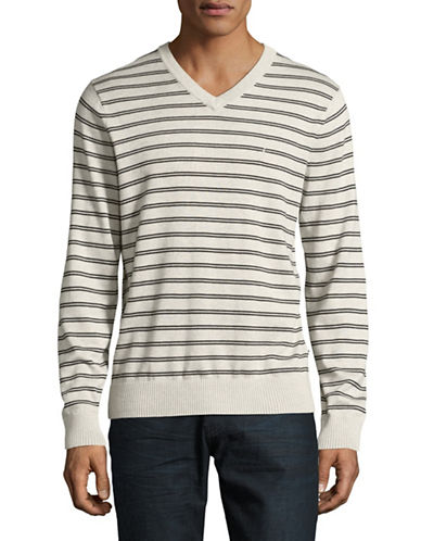 Nautica Striped V-Neck Sweater-BEIGE-Medium