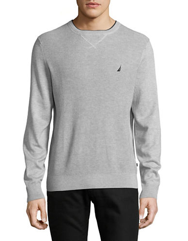 Nautica Textured Crew Sweater-GREY HEATHER-X-Large