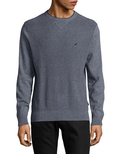 Nautica Textured Crew Sweater-BLUE-Small
