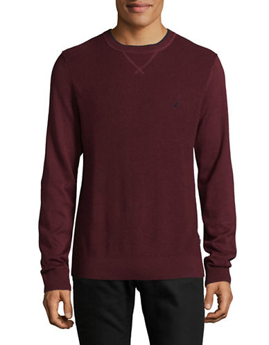 Nautica Textured Crew Sweater-RED-Large