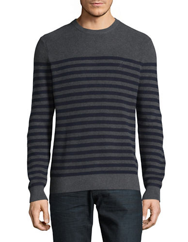 Nautica Stripe Cotton Sweater-GREY-Medium 89372593_GREY_Medium