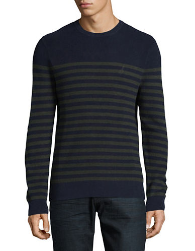 Nautica Stripe Cotton Sweater-GREEN-X-Large