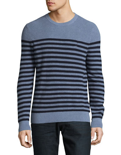 Nautica Stripe Cotton Sweater-NAVY-X-Large