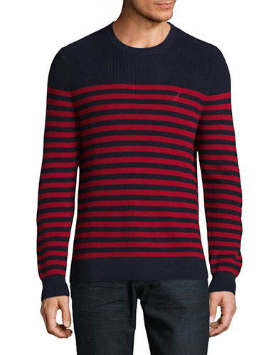 Nautica Engineer Striped Crew Neck Sweater-RED-Large