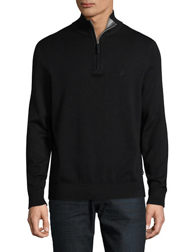 Nautica Ribbed Half Zip Stand Collar Sweater-TRUE BLACK-X-Large