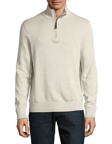 Nautica Half Zip Sweater-BEIGE-Large
