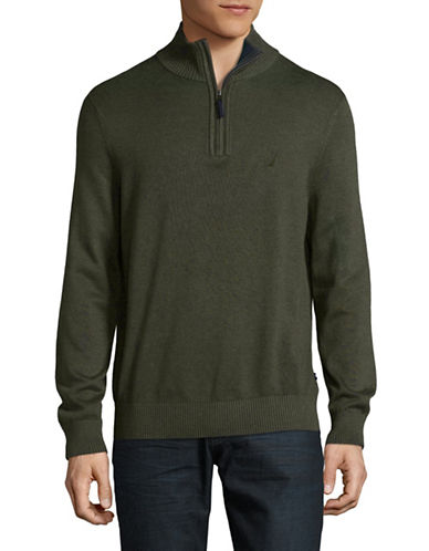 Nautica Ribbed Half Zip Stand Collar Sweater-MOSS GREEN-Small