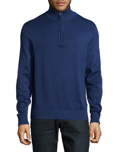 Nautica Ribbed Half Zip Stand Collar Sweater-ESTATE BLUE-XX-Large
