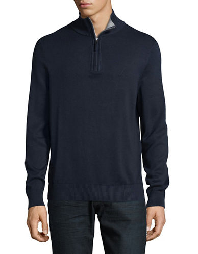 Nautica Ribbed Half Zip Stand Collar Sweater-TRUE NAVY-X-Large
