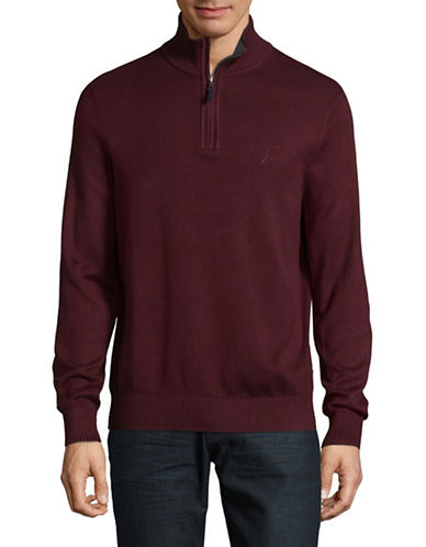 Nautica Quarter-Zip Pullover Sweater-BURGUNDY-Small 89422454_BURGUNDY_Small