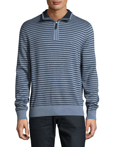 Nautica Striped Long Sleeve Cotton Pullover-BLUE-Large