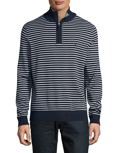 Nautica Ribbed Stripe Half Zip Stand Collar Sweater-NAVY-Medium