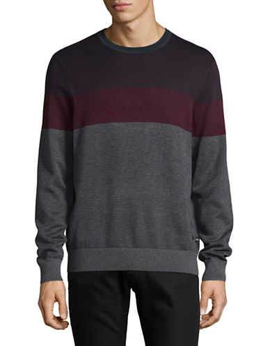 Nautica Striped Sweater-ROYAL BURGUNDY-Large