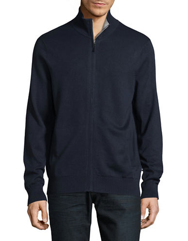 Nautica Full Zip Track Sweater-TRUE NAVY-X-Large
