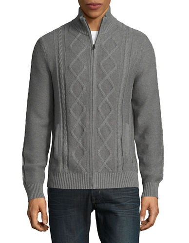 Nautica Cable Knit Cotton Sweater-GREY-X-Large