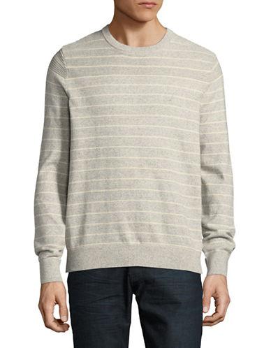 Nautica Stripe Cotton Sweater-GREY-X-Large
