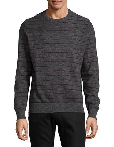 Nautica Stripe Cotton Sweater-BLACK-Large