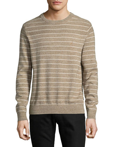 Nautica Stripe Cotton Sweater-NATURAL-Large