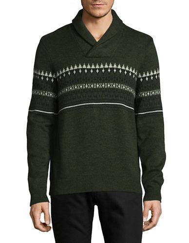 Nautica Fair Isle Cotton Knit Sweater-GREEN-Large