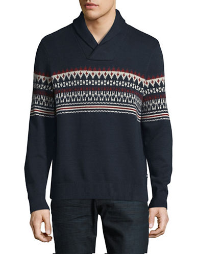 Nautica Fair Isle Cotton Knit Sweater-BLUE-Large